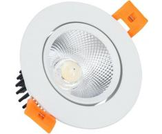 Spot Downlight LED COB Orientable Rond 7W Blanc Coupe Ø 70mm No Flicker Blanc Chaud 3000K - Blanc