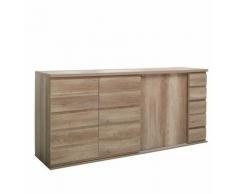 Price Factory - Buffet, bahut ROMI 3 portes coulissantes coloris chêne dab canyon. Meuble design