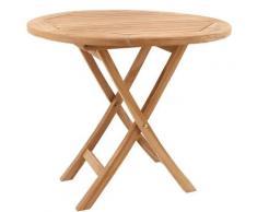 Beneffito - SALENTO - Table ronde d'extérieur pliante en teck - 72x80cm - teck naturel