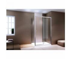 Paroi de douche en coin avec porte coulissante en verre véritable - EX504