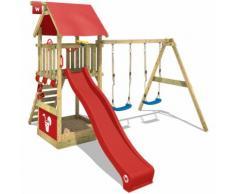 Aire de jeux Portique bois Smart Shelter avec balançoire et toboggan rouge Maison enfant exterieur