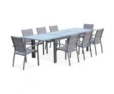 Salon de jardin table extensible - Philadelphie Gris clair - Table en aluminium 200/300cm, 8