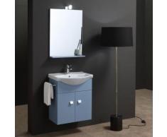 Meuble Salle De Bain Bleu De 58 Cm Lavabo Miroir Et Led Simply