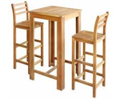 Hommoo Table et chaises de bar 3 pcs Bois d'acacia massif