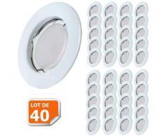 Lot de 40 Spot Led Encastrable Complete Blanc Lumière Blanc Chaud 5W eq.50W ref.267