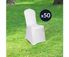 Lot de 50 Housse de Chaise Mariage 90cm - Housse Chaise Extensible 180GSM - Housse Chaise Mariage