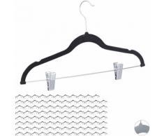 96x Cintres en velours, pinces clips manteaux pantalons robes vêtements, crochet 360°, 43 cm,