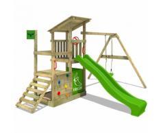 Aire de jeux FATMOOSE FruityForest Fun XXL Portique bois sur 3 niveaux, toboggan vert et balançoire