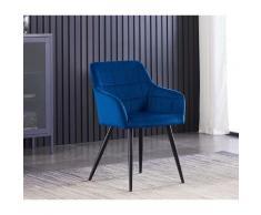 Chaise de Salle à Manger en Velours Capitonnée Bleue - Style Contemporain - Pieds en Métal - Salon,