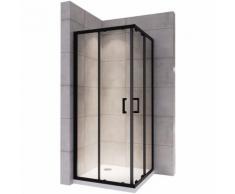 Saniverre - LANABLACK Cabine douche H 180 cm porte coulissante transparent 90x100 cm