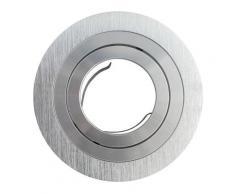 Support spot ronde encastrable orientable aluminium | Sans douille + ampoule - Aluminium brillant