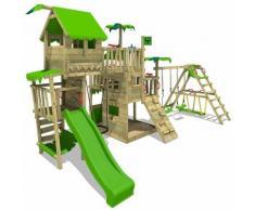 FATMOOSE Aire de jeux Portique bois PacificPearl avec balançoire SurfSwing et toboggan vert pomme