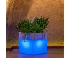 Idralite - Pot de fleurs lumineux cube Led carré en résine h 40 40x40 lampe verte