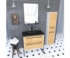 Aurlane - Ensemble de salle de bain 80 cm chêne naturel + vasque noir + miroir LED + colonne de