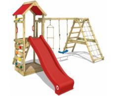 Aire de jeux bois WICKEY StarFlyer Portique de jeux en bois Tour d'escalade, toboggan rouge + bâche