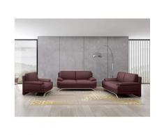 Ensemble salon en cuir marron 3+2+1 places ROMEO