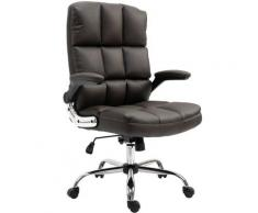 Chaise de bureau 489, chaise de direction chaise pivotante chaise de bureau, ~ similicuir brun - HHG