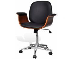 Helloshop26 - Fauteuil chaise siège de bureau luxe pivotant ergonomique avec accoudoir bois et noir