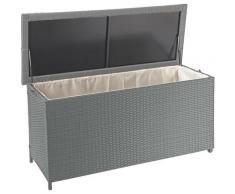 Coffre à coussins en polyrotin, HHG-570, coffre jardin ~ Premium gris, 63x135x52 cm, 320l