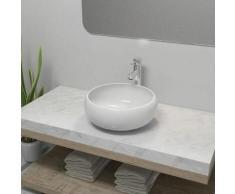Lavabo de salle de bain avec mitigeur Céramique Rond Blanc
