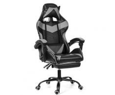 Chaise de Bureau Fauteuil Gaming Gamer sans Repose-pieds Gris