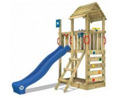 WICKEY Aire de jeux Portique bois Smart Flash avec toboggan bleu Maison enfant exterieur avec bac à