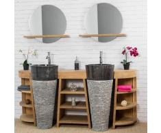 Wanda Collection - Meuble sous vasque en teck Florence double 180cm + vasques noir