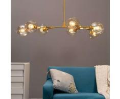 Lustre suspension dorée style floral 7 boules - Ofélia