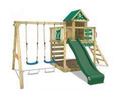 WICKEY Aire de jeux Portique bois Smart Cave avec balançoire et toboggan vert Cabane enfant