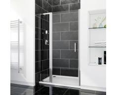 Porte de douche 130 x 185 cm porte pivotante en niche avec étagère en verre - FFP90+FEXT40S