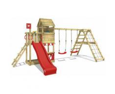Aire de jeux Portique bois Smart Port avec balançoire et toboggan rouge Maison enfant exterieur