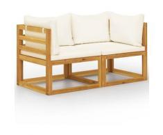 Youthup - Banc de jardin à 2 places avec coussins blanc crème