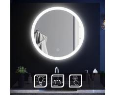Sirhona - Miroir de salle de bain 70x70 cm - Rond mural - Anti-buée - Lumière blanche