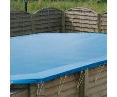 Bâche d'hivernage pour piscine bois Ubbink octogonale allongée Modèle - Lagon 6,40 x 4,00m