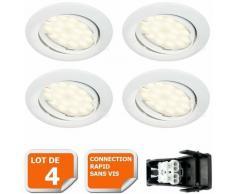 LOT DE 4 SPOT LED ENCASTRABLE COMPLETE ORIENTABLE BLANC AVEC AMPOULE GU10 230V eq. 50W, LUMIERE
