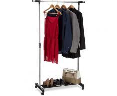 Relaxdays - Portant à roulettes, Porte-manteaux roues armoire mobile trigle rangement, H réglable