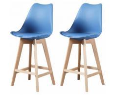 ALIX - Lot de 2 tabourets scandinave - Bleu canard - pieds en bois massif design salle a manger