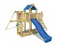 Aire de jeux Portique bois TwinFlyer avec balançoire et toboggan bleu Maison enfant exterieur avec
