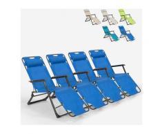 4 transats plage et jardin pliants multi-positions Emily Lux Zero Gravity | Bleu