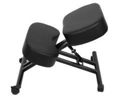 Tabouret ergonomique siège ajustable repose genoux chaise de bureau sans dossier, en métal noir et