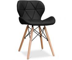 Privatefloor - Chaise à Manger Deswick Style Scandinave Premium Design - Similicuir Noir