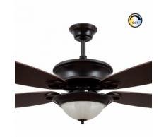 Ventilateur de Plafond LED Vintage avec Tª Couleur Sélectionnable 20W Noir Sélectionnable