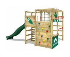 WICKEY Aire de jeux Portique bois Smart Tactic avec toboggan vert Échafaudage grimpant avec mur