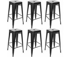 Lot de 6 Tabouret de Bar Tabouret Haut Industriel Metallique Repos-pied pour Cuisine Salon Comptoir