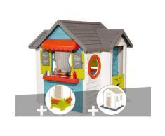 Cabane enfant Chef House + Espace jardin + 2 Sets de 6 dalles - Smoby