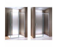 Paroi de douche fixe et porte coulissante DX806A en verre véritable traitement Nano - largeur