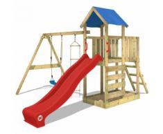 Aire de jeux bois WICKEY FastFlyer portique en bois, balançoire, mur d'escalade et toboggan, rouge