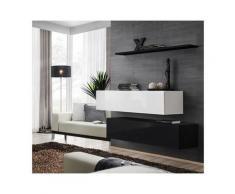 Ensemble meubles de salon SWITCH SBII design, coloris noir et blanc brillant. - Noir