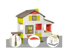 Cabane enfant Neo Friends House + Récupérateur d'eau + Parasol + 3 Sets de 6 dalles - Smoby