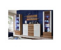 Ensemble meuble salon. Commode + 2 vitrines GALINO D design, coloris prunier et blanc.